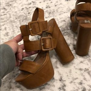 Steve Madden Tan Chunky Heels